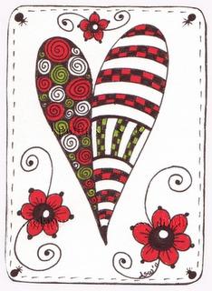 рисунок сердце в стиле зетанг и дудлинг