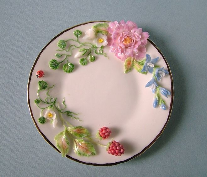 Тарелка из холодного фарфора своими руками