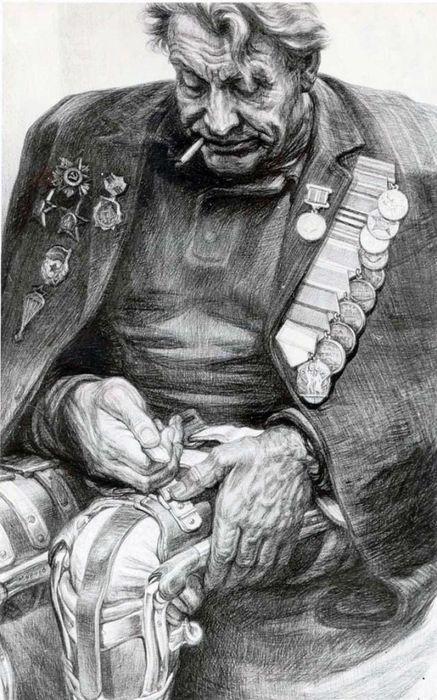 Как нарисовать ветерана войны поэтапно карандашом? Дети Инвалиды Плакат