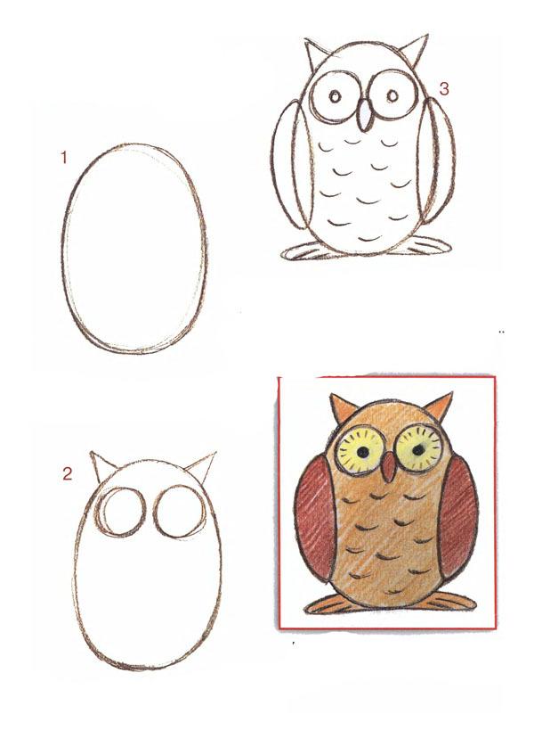 Как нарисовать сову пошагово