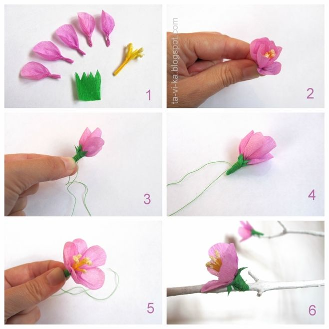 Как сделать цветочек из гофрированной бумаги