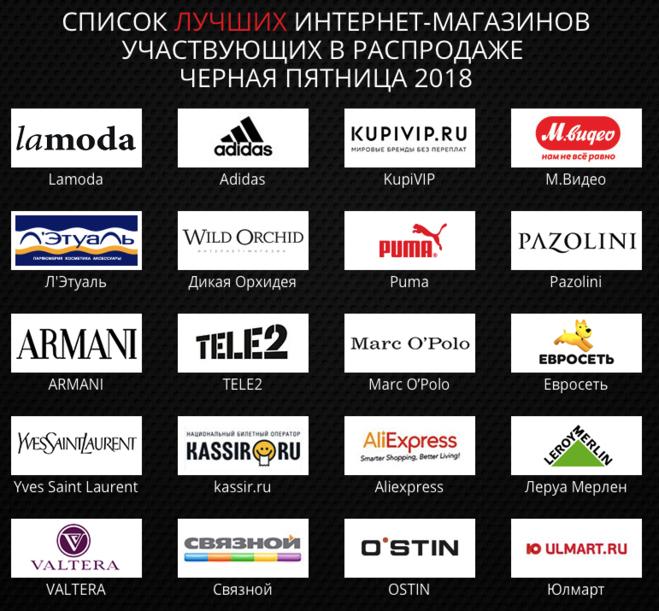 Список Российских Магазинов