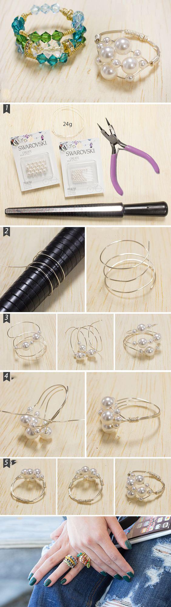 кольцо из проволоки и бисера своими руками мастер-класс