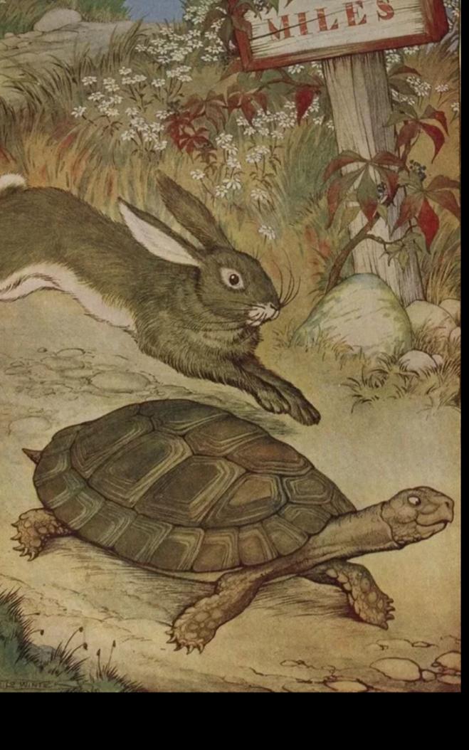 """Какая мораль в басне """"Заяц и черепаха""""? Кто автор басни?"""