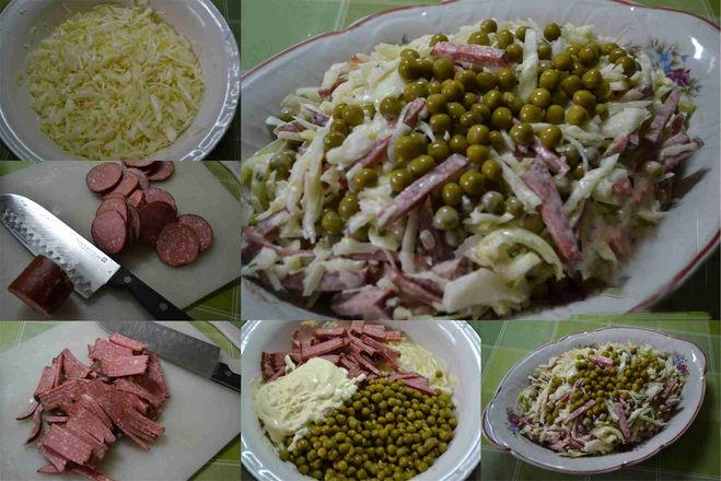 салат с капустой и копченой ветчиной