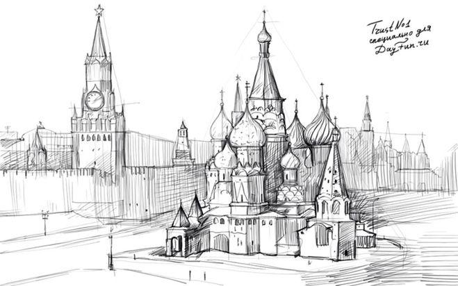 Как нарисовать Красную площадь как нарисовать детскую