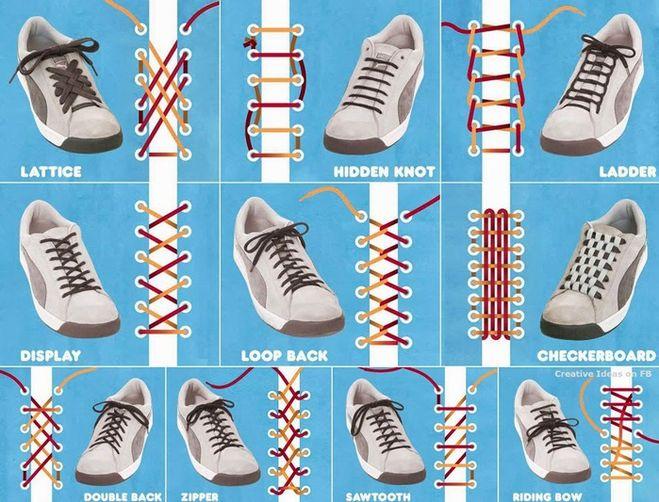 как завязывать шнурки, оригинальный способ