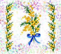 вышивка мимоза, схемы вышивки крестом, как вышить мимозу, вышивка к 8 марта, весенняя вышивка