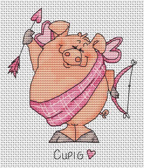 вышивка крестиком свинка, поросенок