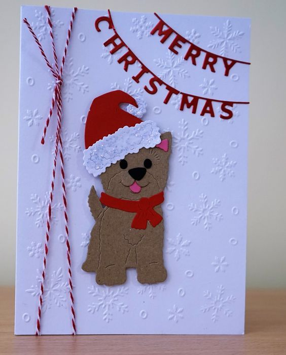 открытка с собакой на Новый год своими руками