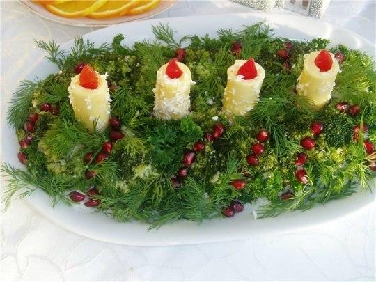 текст при наведении - салат новогодние свечи