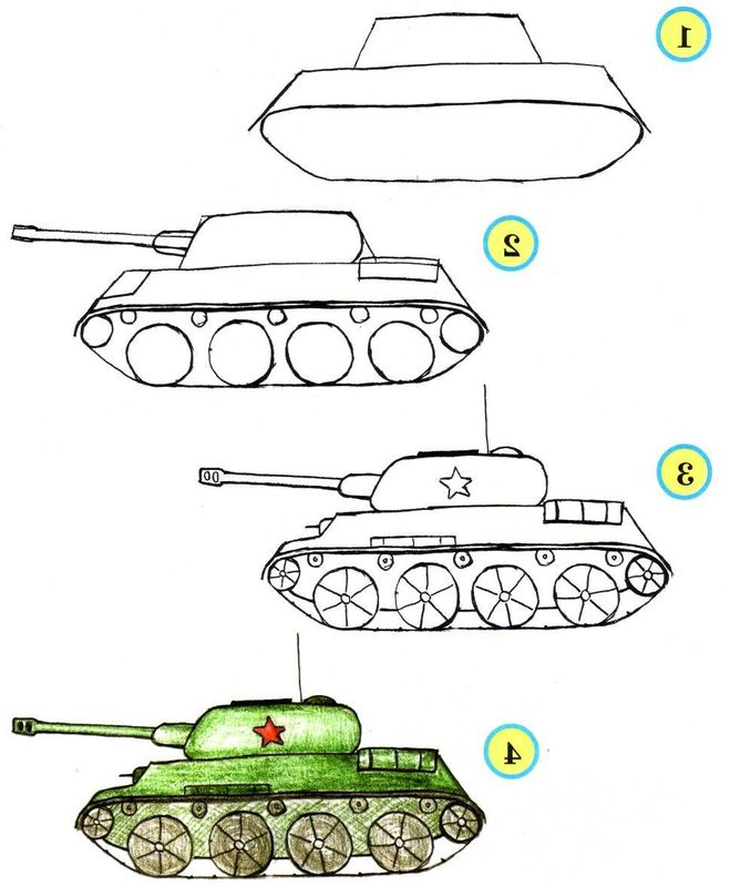 Рисунки танка на бумаг