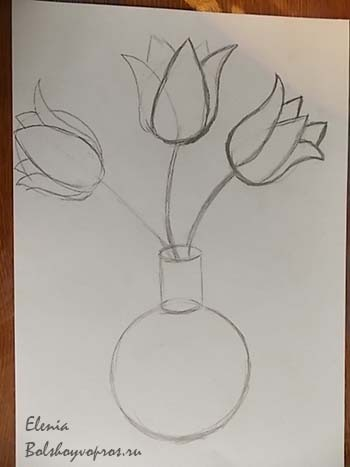 Нарисовать цветок в вазе поэтапно карандашом