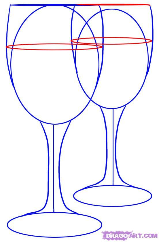 Нарисовать бокалы поэтапно