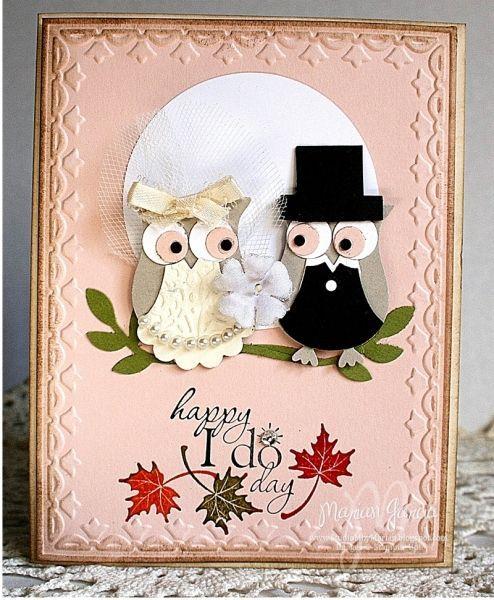 Свадебная открытка с совой в технике Stamping Up
