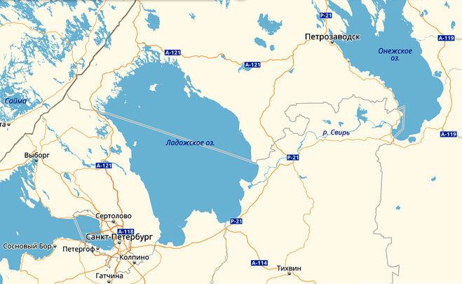 Ладожское и Онежское озеро соединяет река Свирь