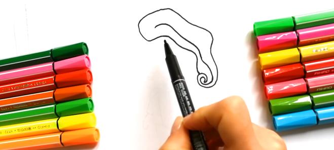 Рисуем поэтапно куклу ЛОЛ фломастером и раскрашиваем