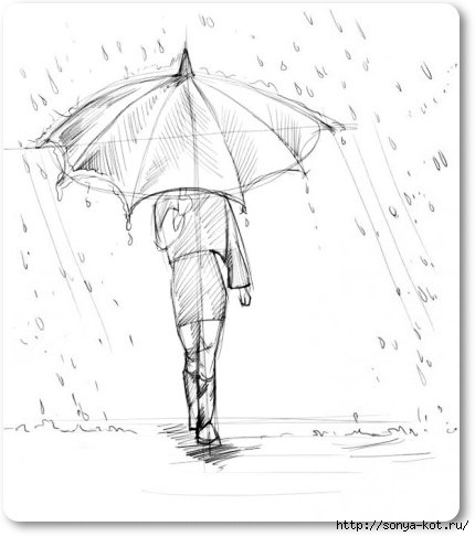Рисунок человек с зонтом