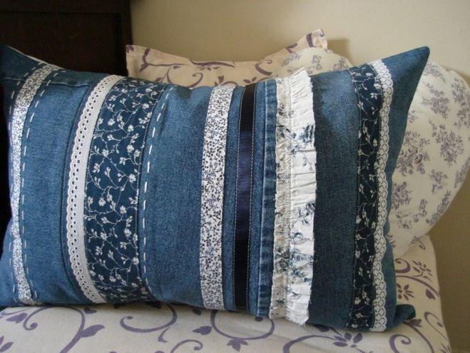 Подушка из старых джинсов своими руками фото