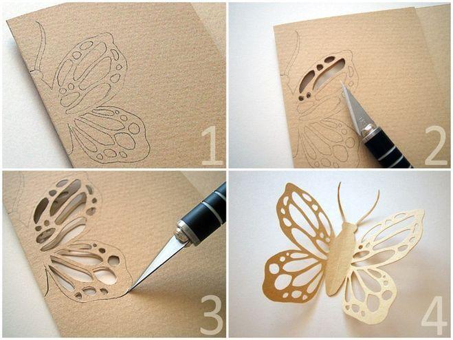 Как сделать бабочку своими руками из бумаги на стену