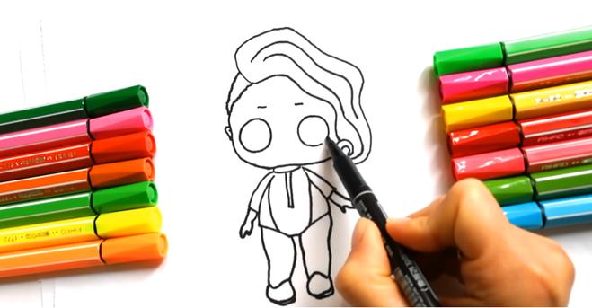 Красивая кукла Лол рисуем поэтапно начинаем с крупных красивых глаз