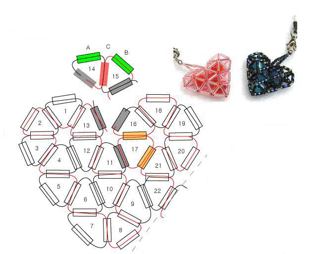 Сердечки схемы плетения из