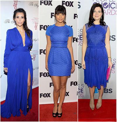Макияж для брюнетки в синим платье