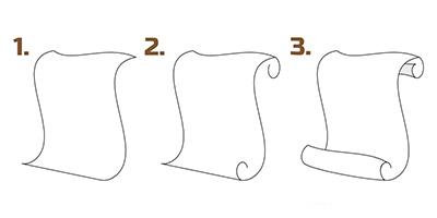 Старинный Как сделать на рисунке свиток