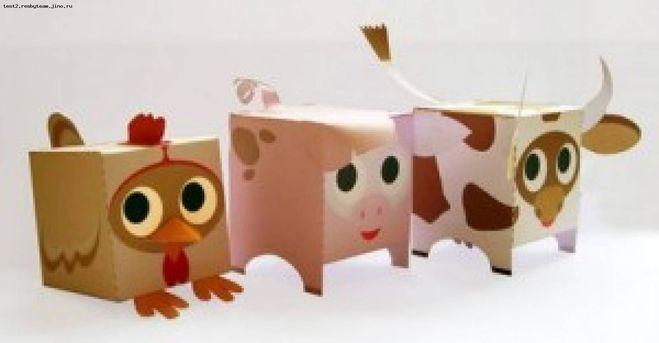 Как сделать из коробок животные