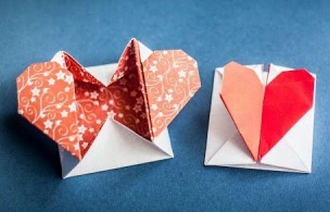 оригами коробочка сердца схема