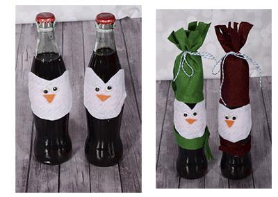 украшение бутылки на новый год своими руками