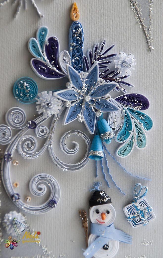Поделка с бумаги снеговик