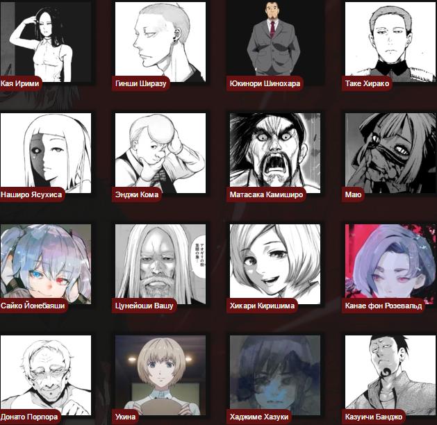 Токийский гуль персонажи по именам