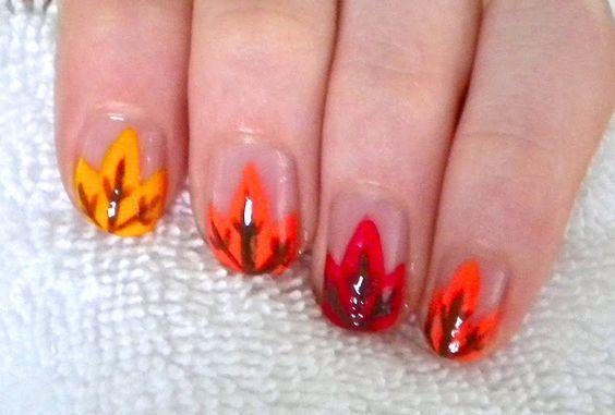 кленовый лист рисунок на ногтях