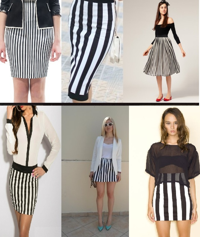 С чем одеть черно белое  в полоску