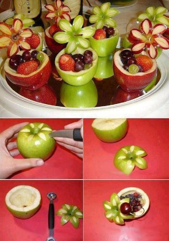 Как с яблока сделать цветок
