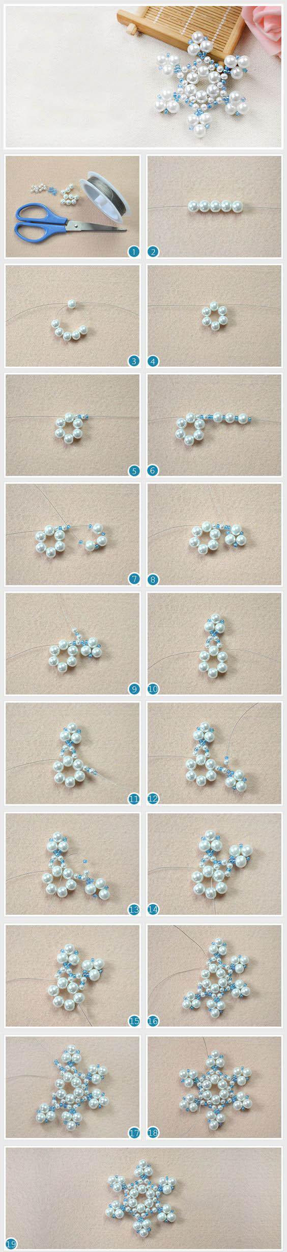 снежинка из проволоки и бисера/бусин мастер-класс своими руками