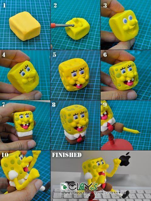 Как сделать из пластилин губка боб