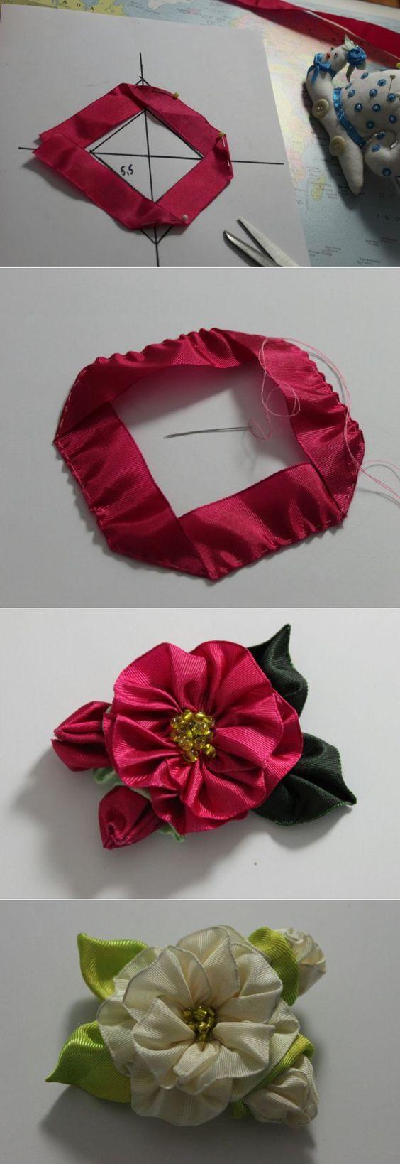 цветы из атласных лент мастер-класс