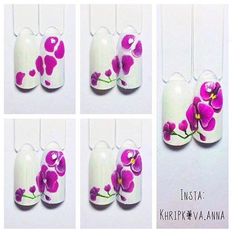 Ногти дизайн с орхидеей в