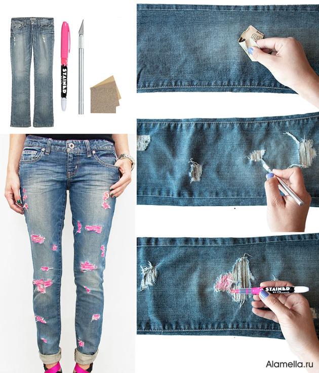 Потертость на джинсах своими руками