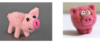 вязаная и валяная свинья