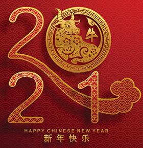надпись на Новый год со знаком и цифрами 2021