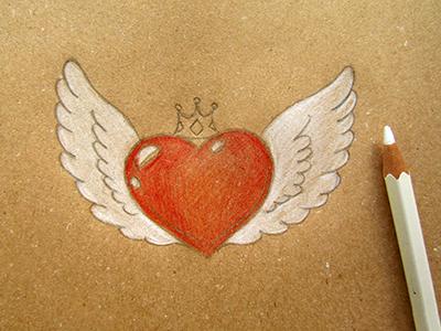 Сердце с крыльями рисунок, объемный эффект 3D поэтапно своими руками