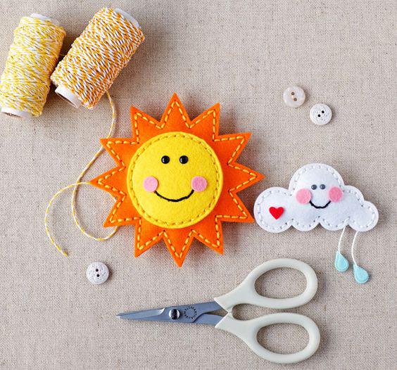 поделка солнце с детьми из фетра