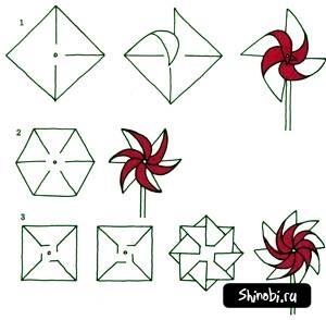 Схема вертушка из бумаги