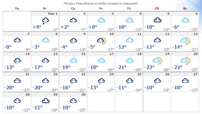 Прогноз погоды на зиму 2018 сибирь
