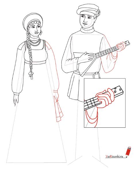 Русский народный костюм женский и мужской раскраска 51