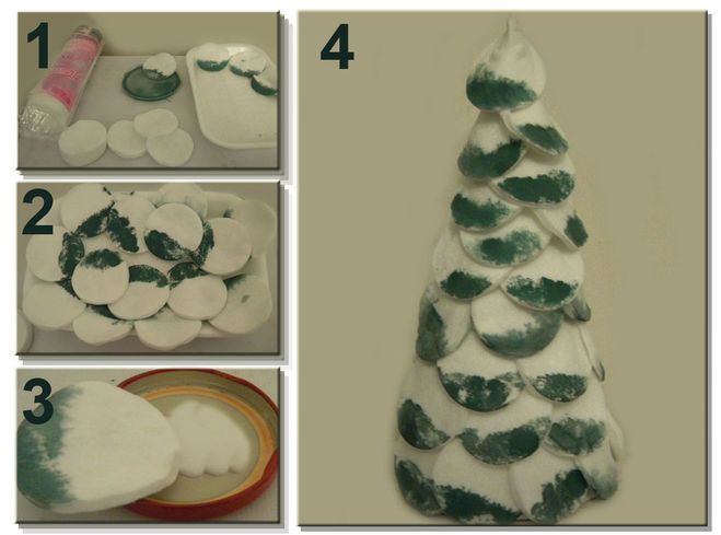 Как сделать елку из ватных дисков фото
