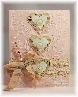 открытка с сердцем шебби-шик